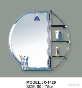 Gllass Beveled Bathroom Mirror, Etched Bath Mirror