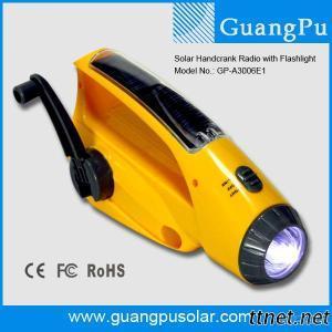 Multi Function Hand Crank Dynamo Solar Emergency Flashlight with Radio