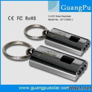 3 LED Rechargeable Solar Keychain Flashlight