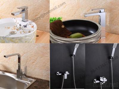 Single Handle Square Wash Brass Basin Faucet, Brass Kitchen Faucet&Kitchen Mixer, Bathroom Water TapShowerFaucet