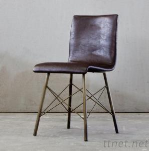 Classic Antique Industrial Metal Style Leather Dining Chair