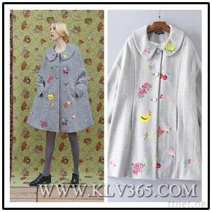 Women Winter Wool Embroidered Long Cape Coat Outerwear