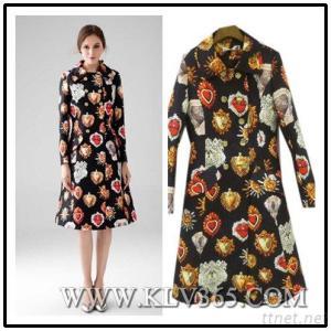 Women Winter Knee Length Long Printed Coat