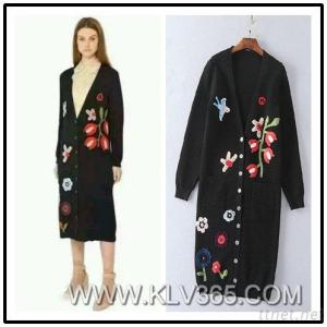 Embroidery Long Wool Cashmere Sweater Cardigan