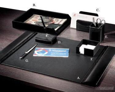 Black Leather W/ Croco Trim 7-PC Desk Set