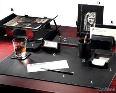 White Stitching Leather 10 - PC Desk Set