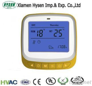 Yellow Color Large Sreen Room Thermostats