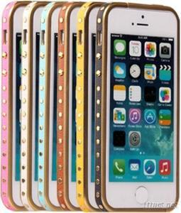 Fashion Leather Strip Metal Bumper Case for IPhone5/5S