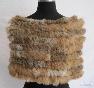 Elastic Natural Color Rabbit Fur Coat