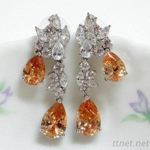 Champagne Pear CZ Wedding Earrings