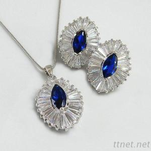 Blue and Clear Stone Jewelry Set