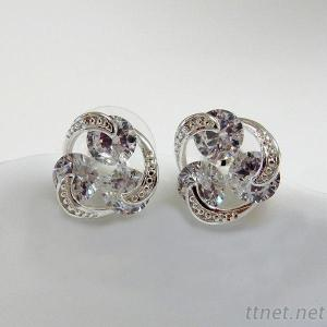 Clear CZ Pierced Earrings