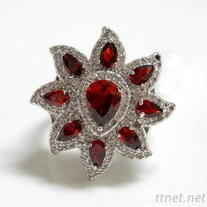 Garnet and Clear CZ Flower Ring