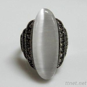 White Cat-Eye Ring