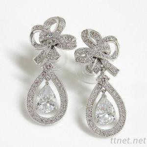 M-35345ER Clear Cubic Zirconia Knot Earrings