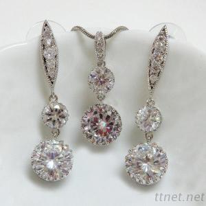 Clear CZ Earrings & Pendant Set
