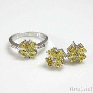 Flower CZ Fashion Jewelry Set