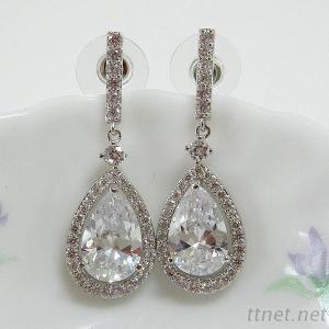 Pear CZ Dangle Earrings