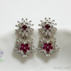 Ruby Flower Wedding Earrings