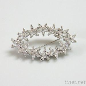 Marquise Shaped Clear Cubic Zirconia Stones Brooch