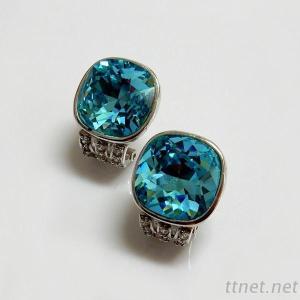 Swarovski Crystal Cushion Aqua Color Earrings
