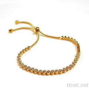 Round CZ Adjustable Bracelet