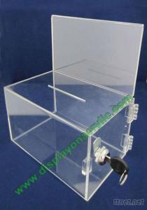 Acrylic Ballot Boxes With Sign Holder