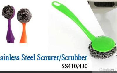 Plastic Handle Stainless Steel Scrubber