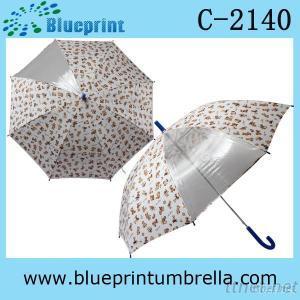Auto Open Metal Shaft Children Rain Umbrella with Clear Panel