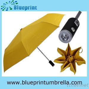Auto Open 3 Fold Yellow LED  Umbrella for Sale