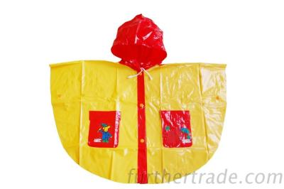 R-1020K-1006 Red And Yellow Shiny Pvc Vinyl Girls Raincoats