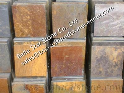 China Multicolor Slate Floor Tiles, Rust Slate Stone Paving, Rusty Slate Flooring Patio