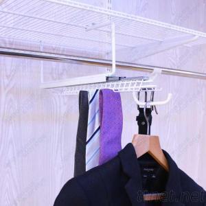 White Sliding Tie&Belt Rack with Valet Hook for Wire shelves closet