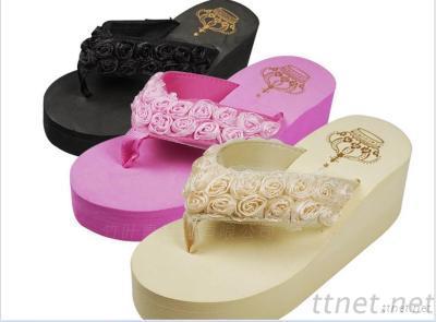 Women Sandal Platform Shoes Flip Flops Open Toe Beach Flower