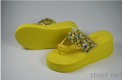 Women Wedges Platform Shoes Summer Slippers Flip Flops Open Toe Beach Flower