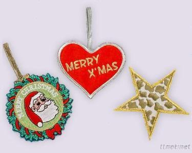 Christmas- Heart, Star, Wreath Shapes - Embroidery Decoration, Ornament