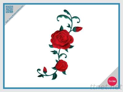 Stick On Embroidered Patch - Rose