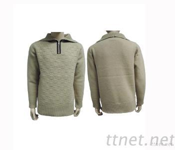 Men'S Zip Turndown Collar Intarsia Pullover Sweater