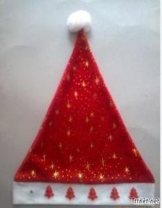 Cotton+Gold Stamp Printing LED Christmas Hat, LED Xmas Hat