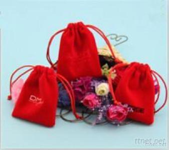 Red Gift Velvet Bag With Drawstring