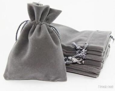 Grey Velvet Drawstring Pouch Bag
