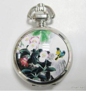 Porcelain Enamel Quartz Pocket Watch