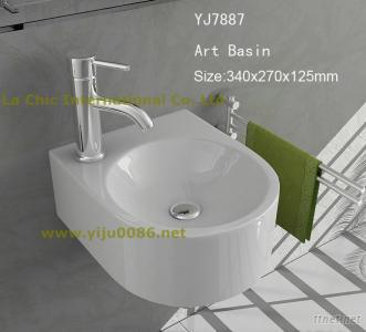 Modern Design Ceramic Wall-Hung Basin Bathroom Sink