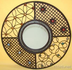 Round Metal Iron Mirror Wall Decor