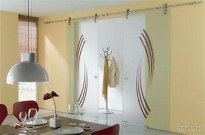 Classical glass sliding door system, barn door hardware