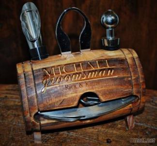 Custom Logo And Printing Color 4 Piece Wine Tool Wood Keg, Wooden Box