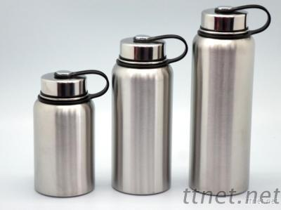 Stainless Steel Vacuum Sports Bottle Silver With Loop 600Ml, 900Ml, 1200Ml