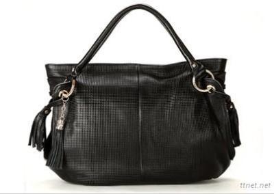 Black Leather Handbag with Embossed Print