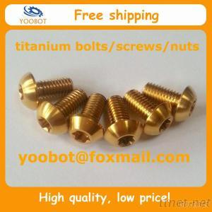 ISO7380 TORX Gold Color GR5 TI6AL4V Ti Button Head/ Titanium Disk Rotor BOLTS / SCREWS M5X10Mm