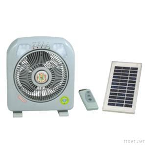 Solar Rechargeable Box Fan With Remote Control And LED Light